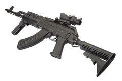 Kalashnikov moderno AK47 com acessórios Fotos de Stock