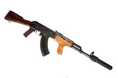 Kalashnikov with silencer isolated Royalty Free Stock Images