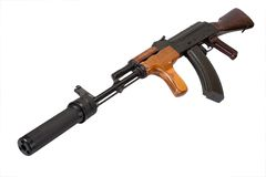 Kalashnikov with silencer isolated Stock Images