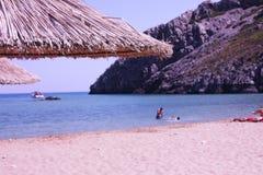 Kalathos海滩在罗得岛,希腊 免版税库存照片