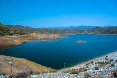 Kalavasos Reservoir, Cyprus. Blue sky over Kalavasos Reservoir, Cyprus Royalty Free Stock Image