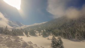 Kalavrita skidar mitten i Grekland under vinter Touristic destination arkivfilmer