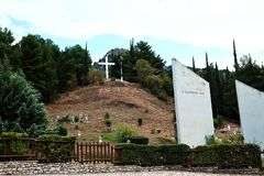 Kalavryta Massacre Memorial, Peloponnese, Greece. Memorial at the site where 600 non combatant civilians were murdered or executed by the German army in December stock photo