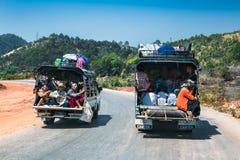 Burmese people on the light truck in Kalaw, Myanmar. royalty free stock photos