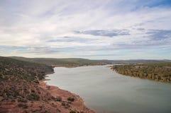 Kalbarri: Het overzien van Murchison-Rivier stock afbeelding