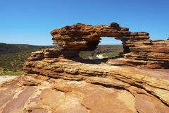 Kalbarri N.P. - Natures Window. The view to the winding river through the natural geological rock formation 'Natures Window' in Kalbarri National Park, Western Royalty Free Stock Photos