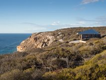 Viewing seats and boardwalk along the coastal cliffs of Kalbarri National Park, Western Australia. Kalbarri is a popular tourist destination north of Perth stock photography