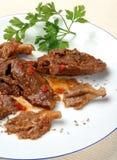 Kalbfleisch mit Austernpilzen Stockfoto