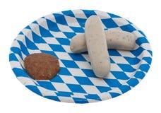 Kalbfleischwurst und süßer Senf Stockfoto