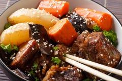 Kalbi Jim Korean Braised Beef Short Ribs closeup. horizontal stock photography