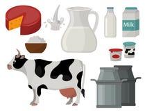 Kalcier för lantgård för näring för ny ost för vektor för organisk mat för mejerimjölkprodukter frukosterar sunda kräm- glass liv stock illustrationer
