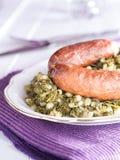 Kale με το λουκάνικο Στοκ εικόνες με δικαίωμα ελεύθερης χρήσης