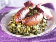 Kale με το λουκάνικο Στοκ εικόνα με δικαίωμα ελεύθερης χρήσης