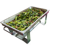 Kale agitar-fritado isolado no prato quente. Imagem de Stock