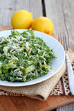Kale and Almond Salad. With Parmesan cheese stock photo