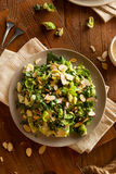 Kale and Brussel Sprout Salad. With Almons and Lemon Dressing stock photos