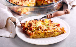 Kale cabbage and smoked meat bake. Selective focus Royalty Free Stock Photos