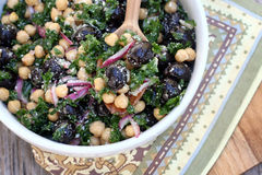 Kale, Chickpea and Olive Salad Stock Image