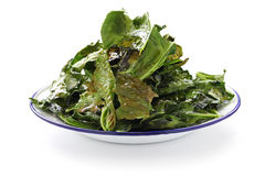 Kale chips. Baked kale chips on a tray stock photos