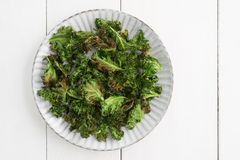 Kale chips with sea salt Royalty Free Stock Photography