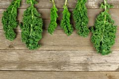 Kale leaves over a wooden background Stock Image