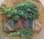 Kale leaves with word Royalty Free Stock Photography