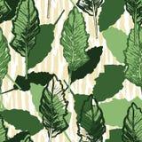 Kale liście na textured tło powtórki wzoru bezszwowym tle ilustracja wektor