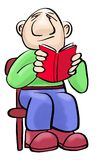 Kale mens die een rood boek lezen Royalty-vrije Stock Foto's