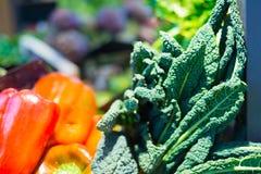 Kale na pokazie przy rolnikami Wprowadzać na rynek, zamyka w górę, zdjęcie royalty free