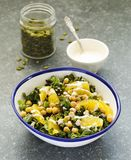 Kale, orange and chickpeas salad. In bowl Stock Images