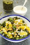 Kale, orange and chickpeas salad. Top view Royalty Free Stock Photography