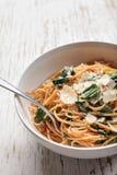 Kale Pasta Dish macro shot Stock Image