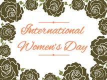 Kale róż rama - kartka z pozdrowieniami kobiet ` s międzynarodowy dzień ilustracja wektor
