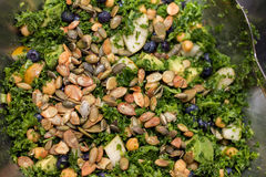 Kale salad in silver salad bowl  full frame Stock Photography