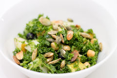 Kale salad in white bowl on white Royalty Free Stock Image