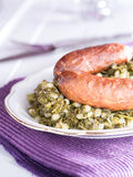 Kale with sausage Royalty Free Stock Images