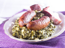 Kale with sausage Royalty Free Stock Image