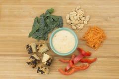 Kale Slaw με τα συστατικά σαλτσών & Tempeh φυστικιών στοκ εικόνα