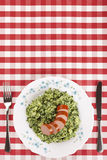 Kale with smoked sausage or Boerenkool met worst Royalty Free Stock Images