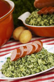 Kale with smoked sausage or 'Boerenkool met worst' Stock Images