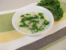Kale soup with pearl barley Royalty Free Stock Photo