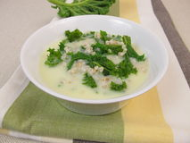 Kale soup with pearl barley Stock Photo