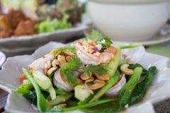 Kale spicy salad with shrimp Stock Photos