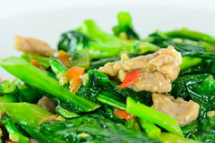Kale vegetable fried with oil with pork Royalty Free Stock Photos