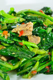 Kale vegetable fried with oil and pork Royalty Free Stock Images