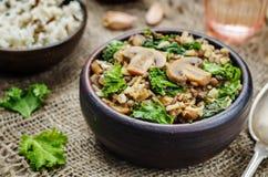 Kale zielone soczewicy rozrastają się smażących białych i dzikich ryż Obrazy Royalty Free