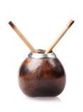 Kalebasboom met twee die bombillas op wit wordt geïsoleerd Royalty-vrije Stock Afbeeldingen