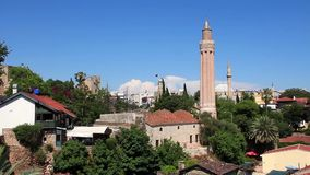 Kaleici - old town. Yivli minaret. Antalya, Turkey stock footage