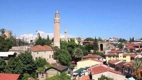 Kaleici - old town. Yivli minaret. Antalya, Turkey stock video footage