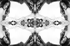 kaleidoscope Абстрактный монтаж красивой молодой женщины на белой предпосылке Портрет искусства Стоковые Изображения